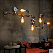 Винтажный Лофт wroguht железные водопроводные трубы настенный светильник Эдисона бар столовая гостиная настенный светильник