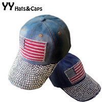 American Flag Crystal Blue Jean Snapback Hat Cap Retro Distressed Rhinestones Bling Adjustable Denim Baseball Caps