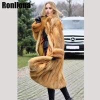 2018New Pelt Real Red Fox Fur Coat Long Real Fur Jacket Natural With Turn down Collar Fox Full Length Coat Winter Fashion FC 078