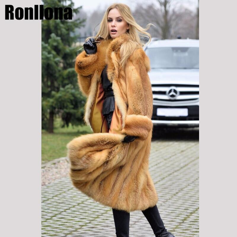 2018New Pelt Reale Red Fox Fur Coat Lungo Vera Pelliccia Giacca di Pelliccia Naturale Con Turn-giù il Collare di Volpe Piena Lunghezza cappotto di Modo di Inverno FC-078