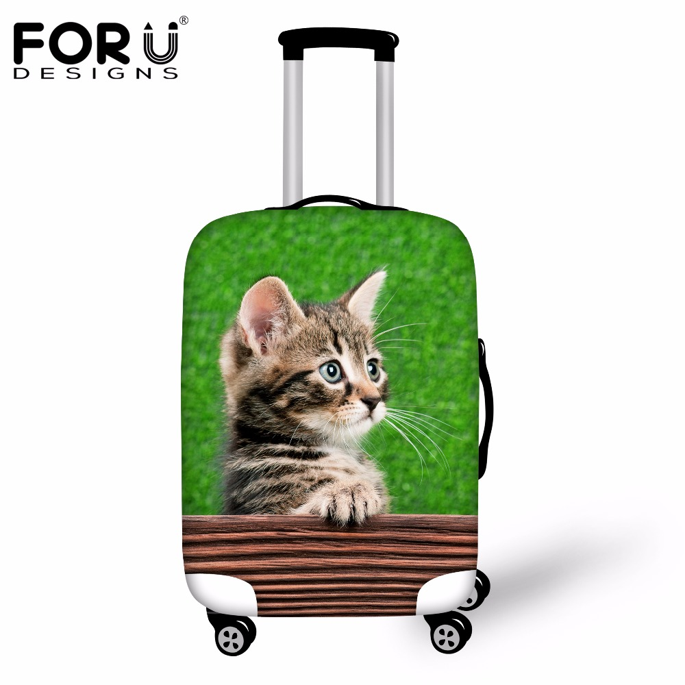 FORUDESIGNS Cute 3D Cat Women Luggage Suitcase Protective Cover Waterproof Anti-dust Trolley Case Cover For 18-30 Inch Case 2017