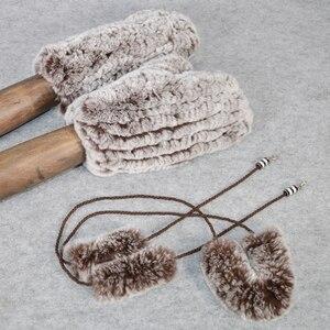 Image 3 - Sıcak satış kış gerçek kürk eldiven kadın elastik el yapımı örgü gerçek Rex tavşan kürk eldiven açık doğal Rex tavşan kürk eldivenler