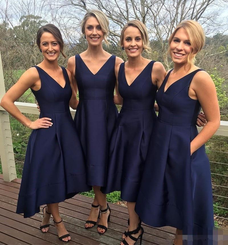 Newly Custom Made Short   Bridesmaid     Dress   V-Neck Sleeveless Zipper Tea-Length Satin With Pockets A-Line Wedding Party   Dresses