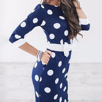 Women Dresses 2017 Bodycon Polka Dot Half Sleeve Club Party Dresses Casual Elegant Dress For Work