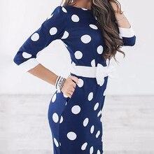 Для женщин Платья для женщин 2017 Bodycon горошек Половина рукава Club Платья для вечеринок Повседневное элегантное платье для работы Vestidos LJ9219X