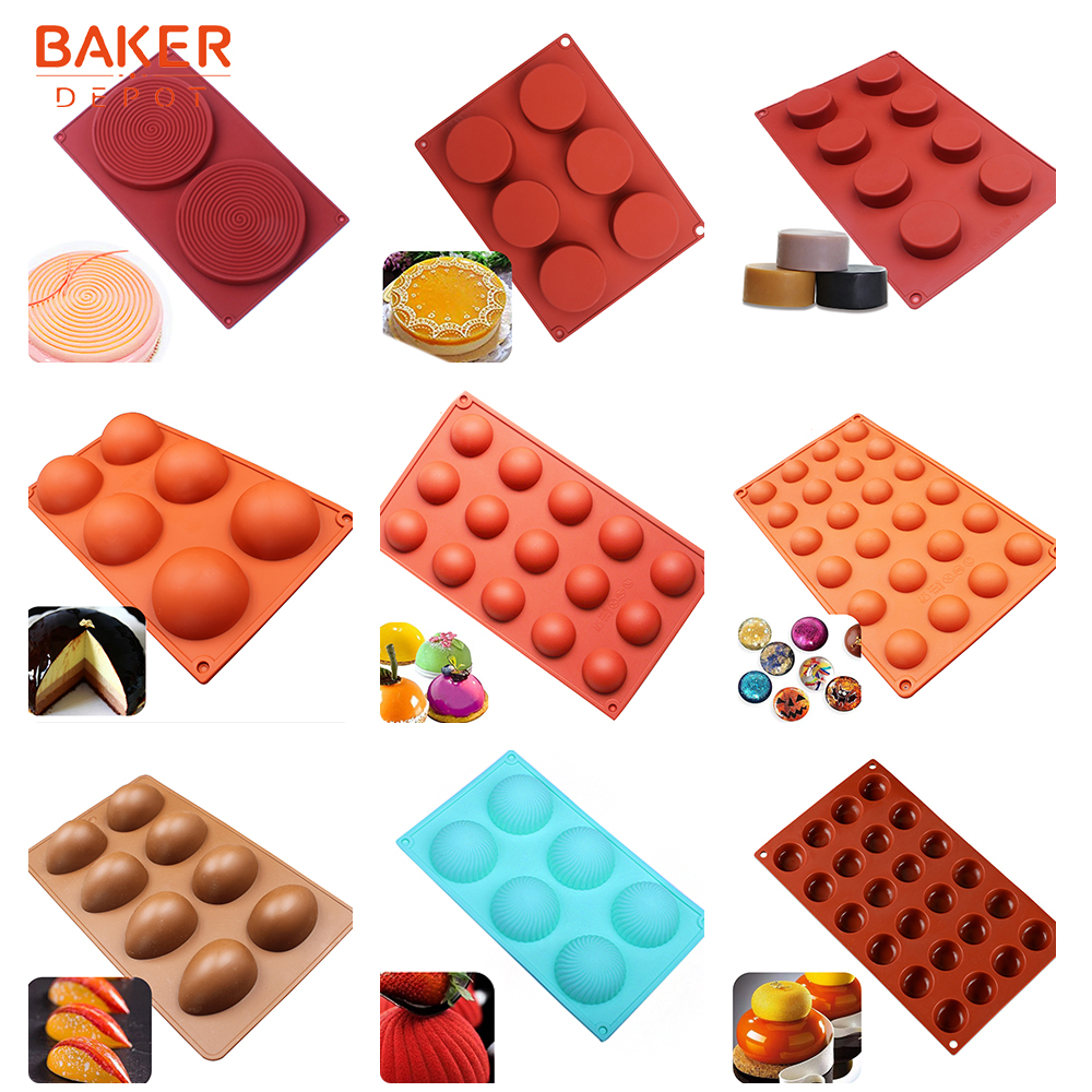 <font><b>BAKER</b></font> <font><b>DEPOT</b></font> silicone mold for cake pastry baking round shape soap Jelly pudding ice mould silicone chocolate candy fondant forms image