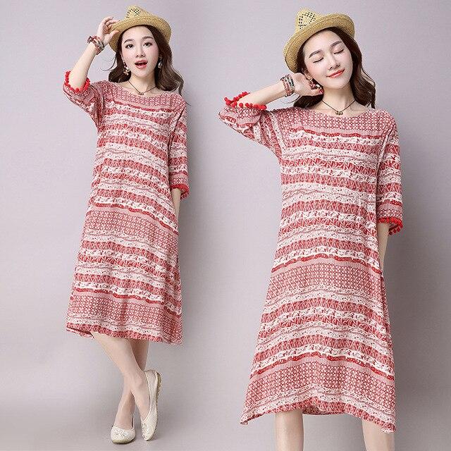 2017 New Brand Woman's Flower Print Half Quarter Sleeve Pregnant Dresses Cotton Linen Maternity Dress CE401