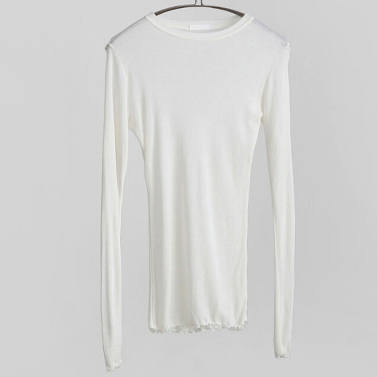 Slim High Quality Plain T Shirt Women Cotton Elastic Basic T-shirts Female Casual Tops Long Sleeve Sexy Thin T-shirt see through 8
