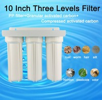 3 stage prefilter with Hanger Filter bottle PPF+UDF+CTO 10 inch water Three Levers filter 1/2 connection water purifier