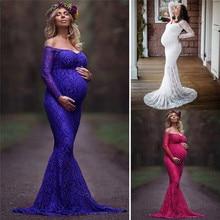 Модное платье для мам, платье для фотосессии, платье макси для беременных с открытыми плечами, кружевное Сексуальное Женское Платье для беременных