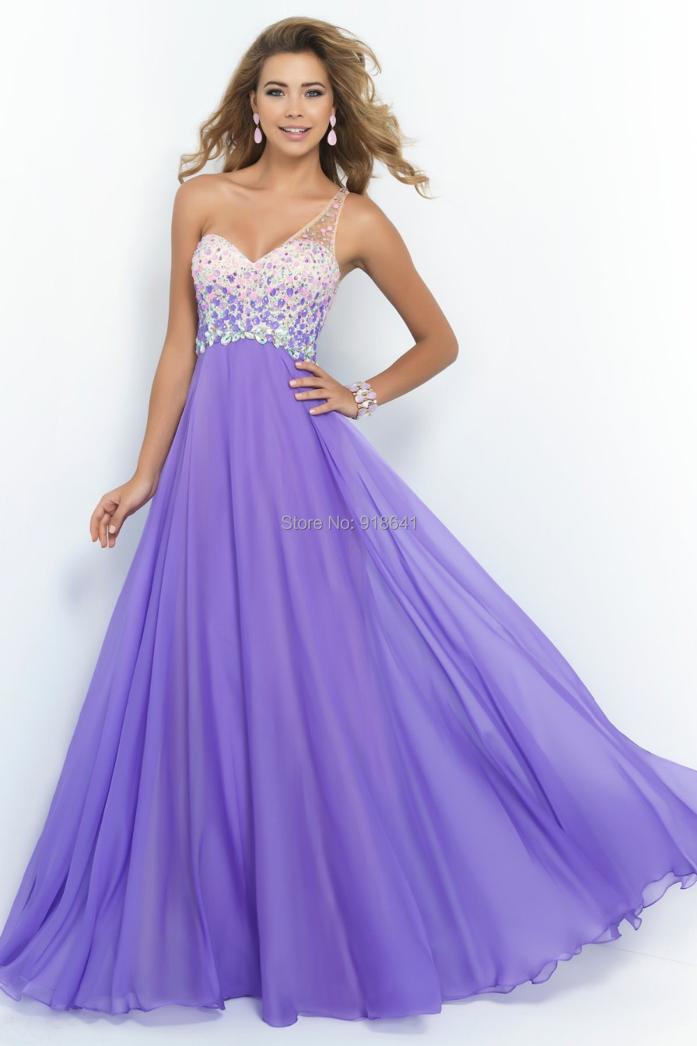 Lavender Chiffon Prom Dress 2015 One Shoulder line Ruched Beaded Sequins Backless Gowns Vestidos de Festa Vestido Longo - Online Store AndyBridal store
