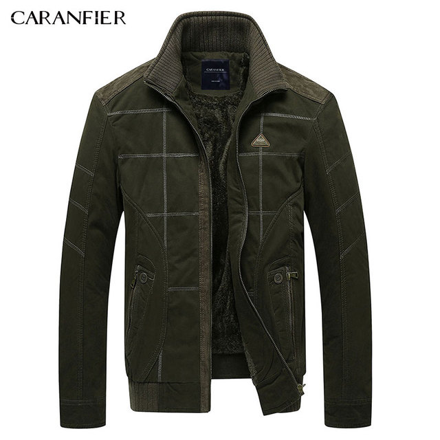CARANFIER 2017 Winter Men Jacket High Quality Fleece Casual Army Military Tactical Male Coat Business Fashion Windproof  M~3XL
