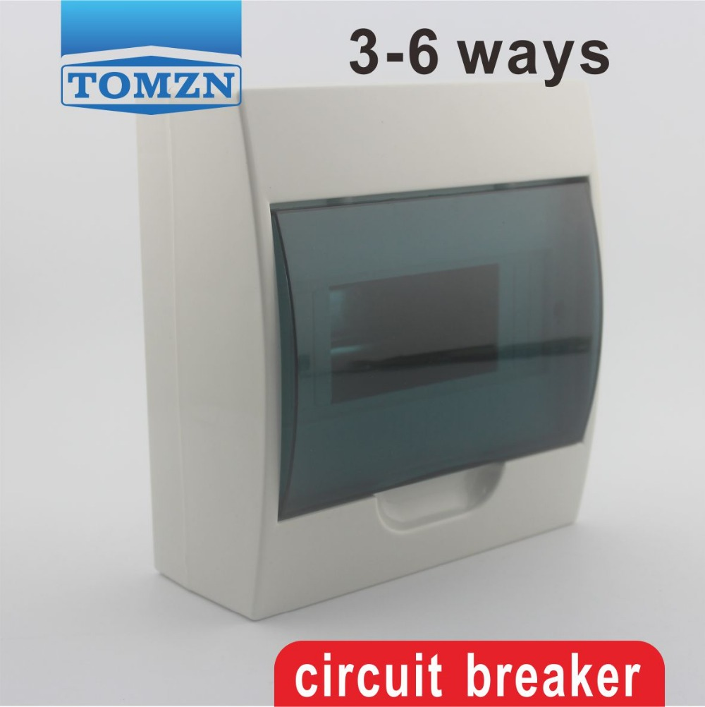 3 - 6 Ways Plastic Distribution Box For Circuit Breaker Indoor On The Wall