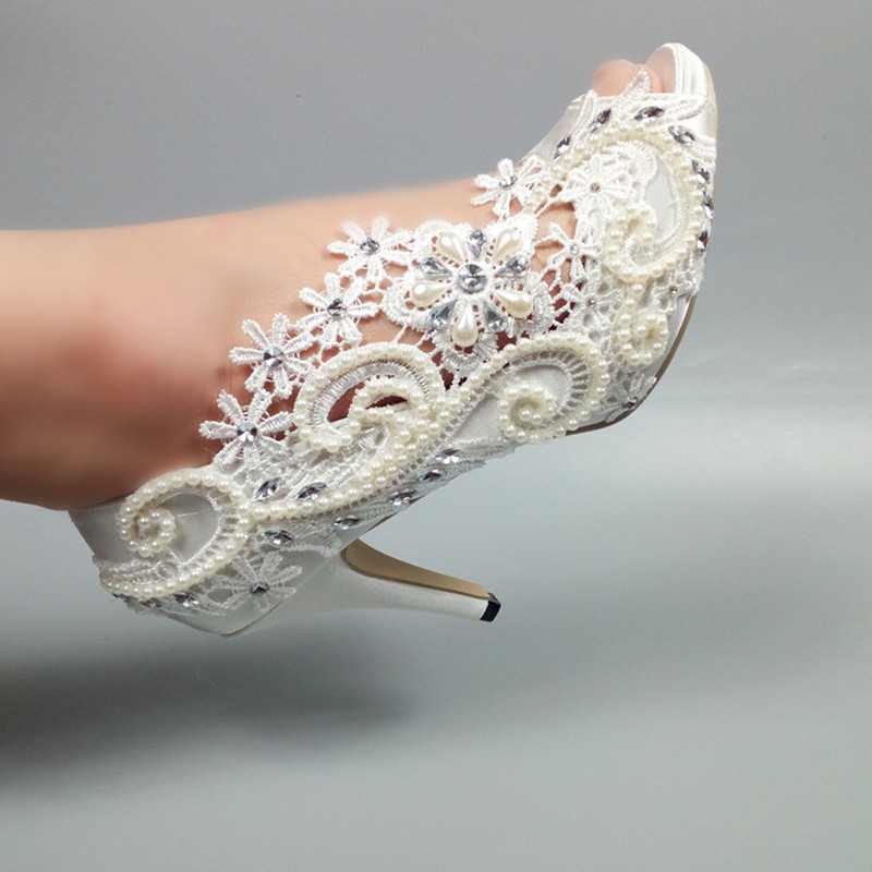 New white Wedding shoes Woman fashion shoes High heels Party dress shoes Bride Peep Toe open side Platform shoes female