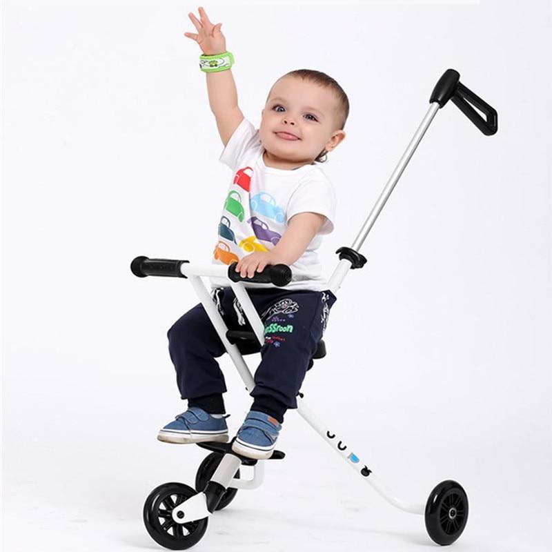 2018 New M cro Style Baby Three Wheeled trolley Children's Folding Portable Carts Ultra light Aluminum Kids Bike Stroller Nobelt