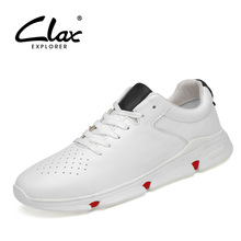 CLAX Mens Leather Shoes 2019 Spring Summer Casual Shoe Male Fashion Sneakers Walking Footwear White Soft Breathable