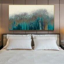 Turquesa abstracto Lona de arte de pared Vintage cartel moderno pinturas abstractas en lienzo en la pared para cama Cuadros Decoración