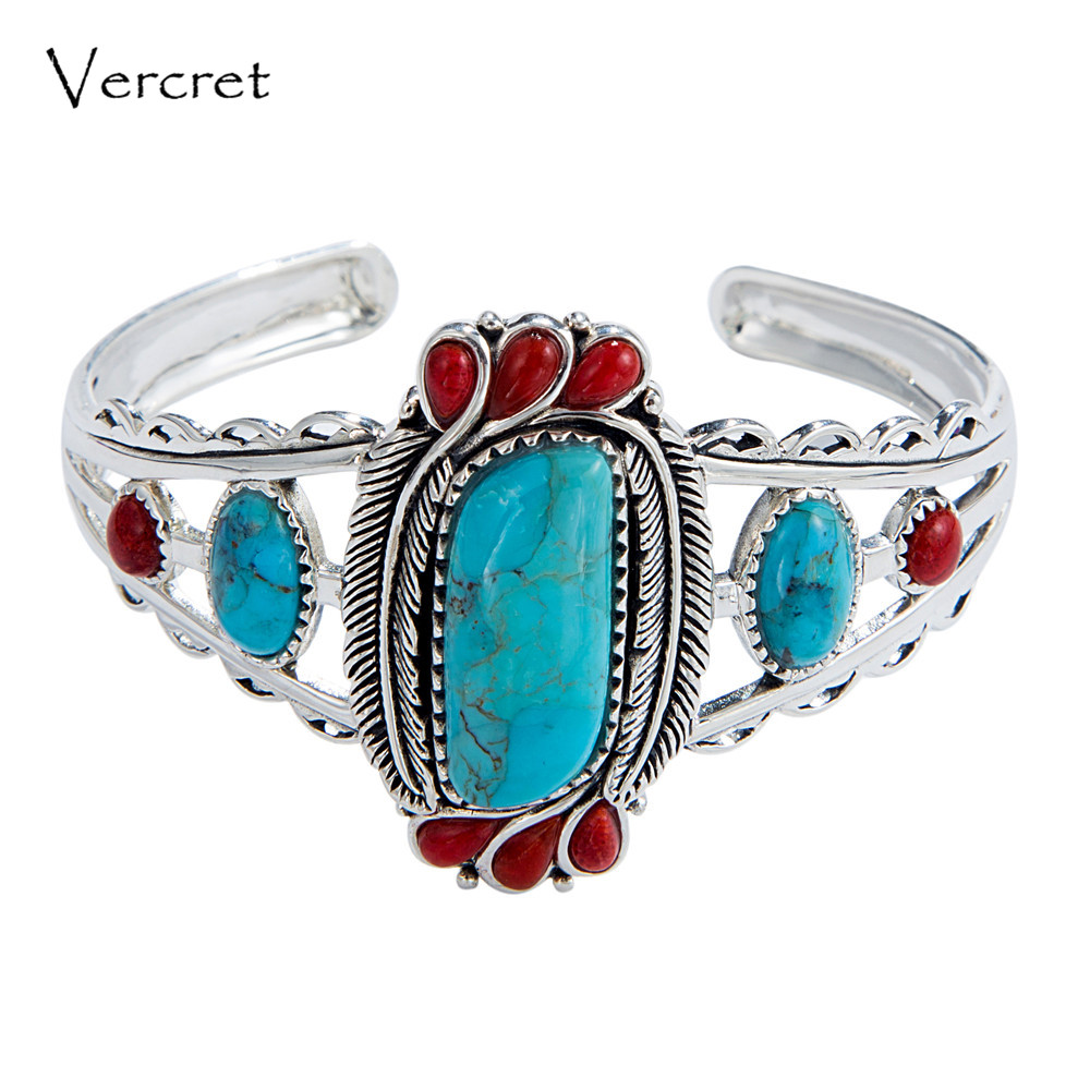 Vercret Native American Indian Natural 925 Silver Turquoise Stone Bangles For Women Wedding Vintage Coral Fine Jewelry Bracelet vercret turquoise 925 silver native american indian chief head ring for women vintage fine jewelry ring