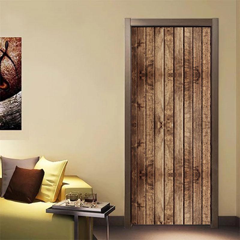 Creative Retro Texture Wooden Door Decor Stickers For Living Room Bedroom Waterproof 3D Vinyl Mural Renovation Funny Decals