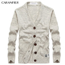 CARANFIER Brand Sweater Men Cardigan Male V-Neck Single Button Sweater Solid Color Slim Fit Coat Men Wool Sweater Plus Size 3XL