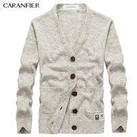 CARANFIER Brand Sweater Men Cardigan Male V Neck Single Button Sweater Solid Color Slim Fit Coat