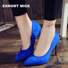 2017 HOT Women Shoes Pointed Toe Pumps Suede Leisure Dress Shoes High Heels Boat Wedding tenis feminino 10cm
