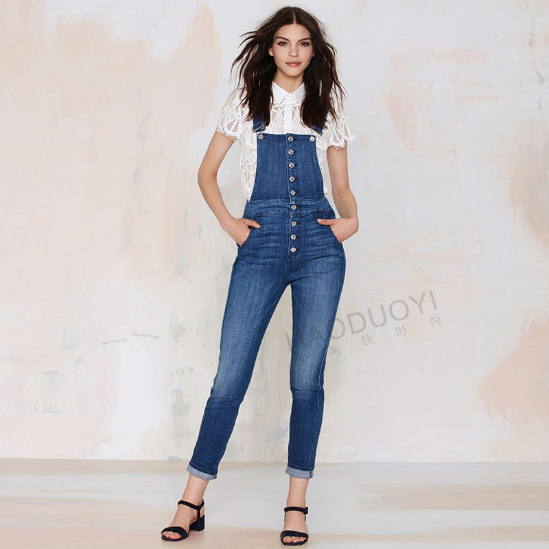 2015 Womens fall fashion Women Denim Overalls High waisted ...