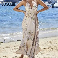 VOGUE N New Womens Sexy Deep V Neck Floral Print Halter Beach Backless Maxi Dress Size