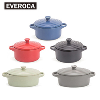 Everoca Ceramic Oven Bowl Double Hadnle Microwave Oven Oval Round Soup Bowl Lid Red Black Green