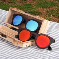 BOBO BIRD Women Sunglasses Men Sun Glasses Black Cat Eye Wood UV Polarized Coating Bamboo Wooden Fashionable Eyewear in Box