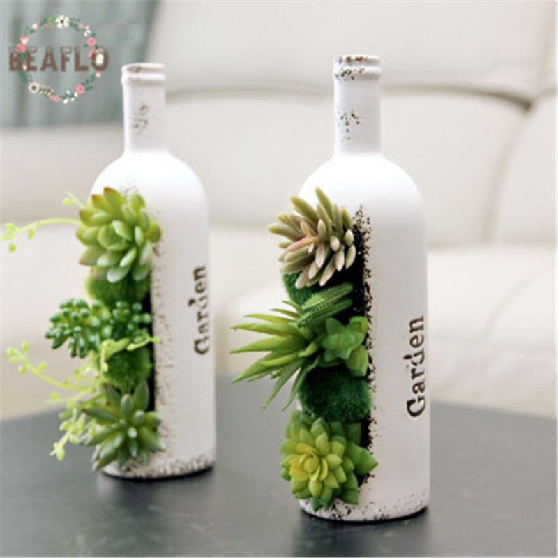 1PC Artificial Flowers Bonsai Succulent Wine Bottle Shape Potted Ceramics flowerpot Wedding Home Decorative Floristry