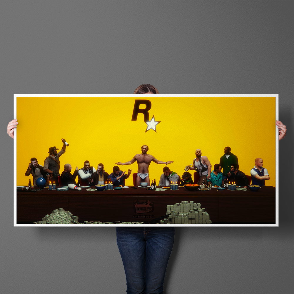 GTA5 Funny Art Rockstar The Last Supper Canvas Painting Games Poster Print Animal Wall Art Pictures For Living Room Home Decor