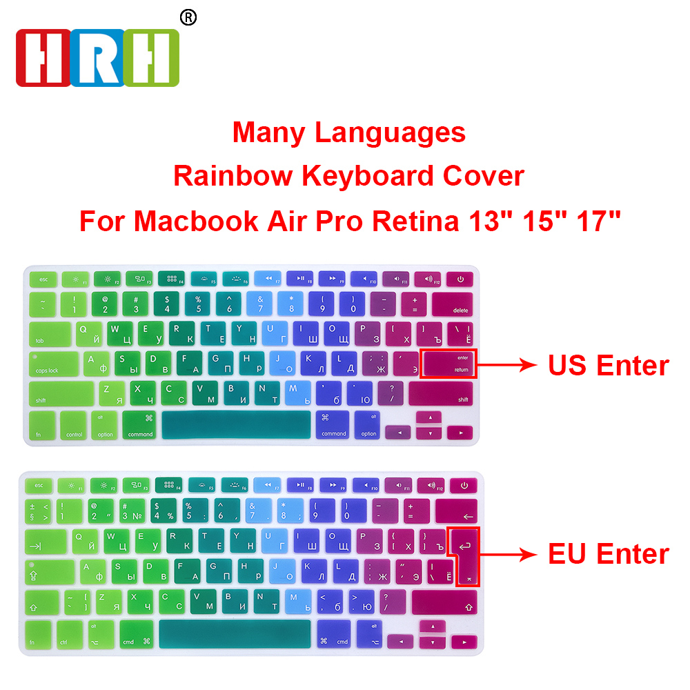 HRH US EU EU Russian Russian Spanish Spanish German French Thai Thai Rainbow Silicone Coverboard Keyboard Macbook Air Pro Retina 13 15 17
