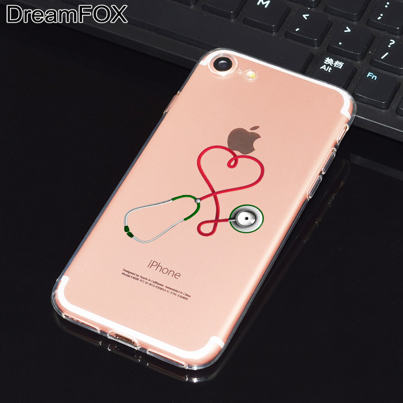 DREAMFOX L517 Cute Nurse Doctor Soft TPU Silicone Case Cover For Apple iPhone XR XS Max 8 X 7 6 6S Plus 5 5S SE 5C 4 4S in Fitted Cases from Cellphones Telecommunications