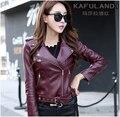 2016 autumn o-neck plus size leather clothing female short design fashion jacket outerwear leather jacket women red blue