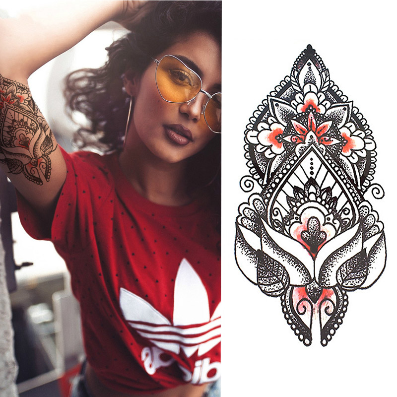 1pcs Sexy Indian Totem Small Full Flower Arm Temporary Waterproof Tattoo Stickers for Women Men Body Art