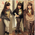 Kids Autumn Fashion Clothes for Girls Vetement Enfant Fille Cartoon Long-Sleeved + Pants Suit Girls Leopard Head Set