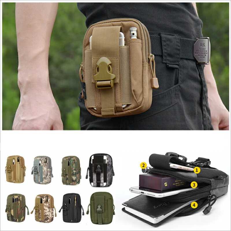 CQC Molle Tactical Waist Pouch Fanny Pack Bag Men's Outdoor Sports Running Belt Mobile Phone Holder Case EDC Hunting Bags image
