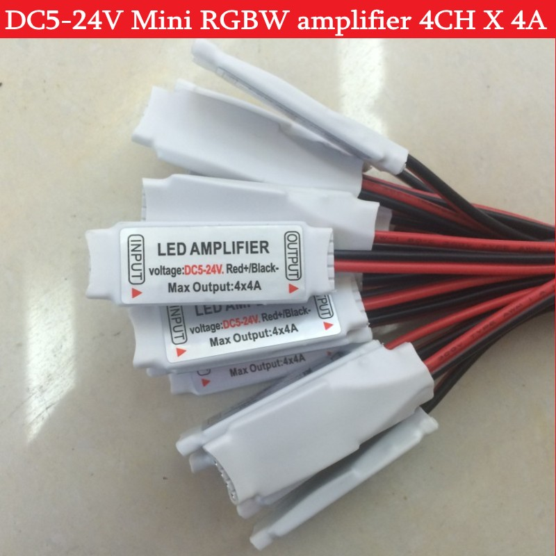 5 Pin Mini RGBW Amplifier DC5-24V 4CH X 4A For 5050 RGBW LED Strip Light  1pc
