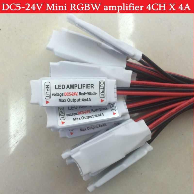 5ピンミニrgbwアンプdc5-24v 4ch × 4a用5050 rgbw ledストリップライト1ピース