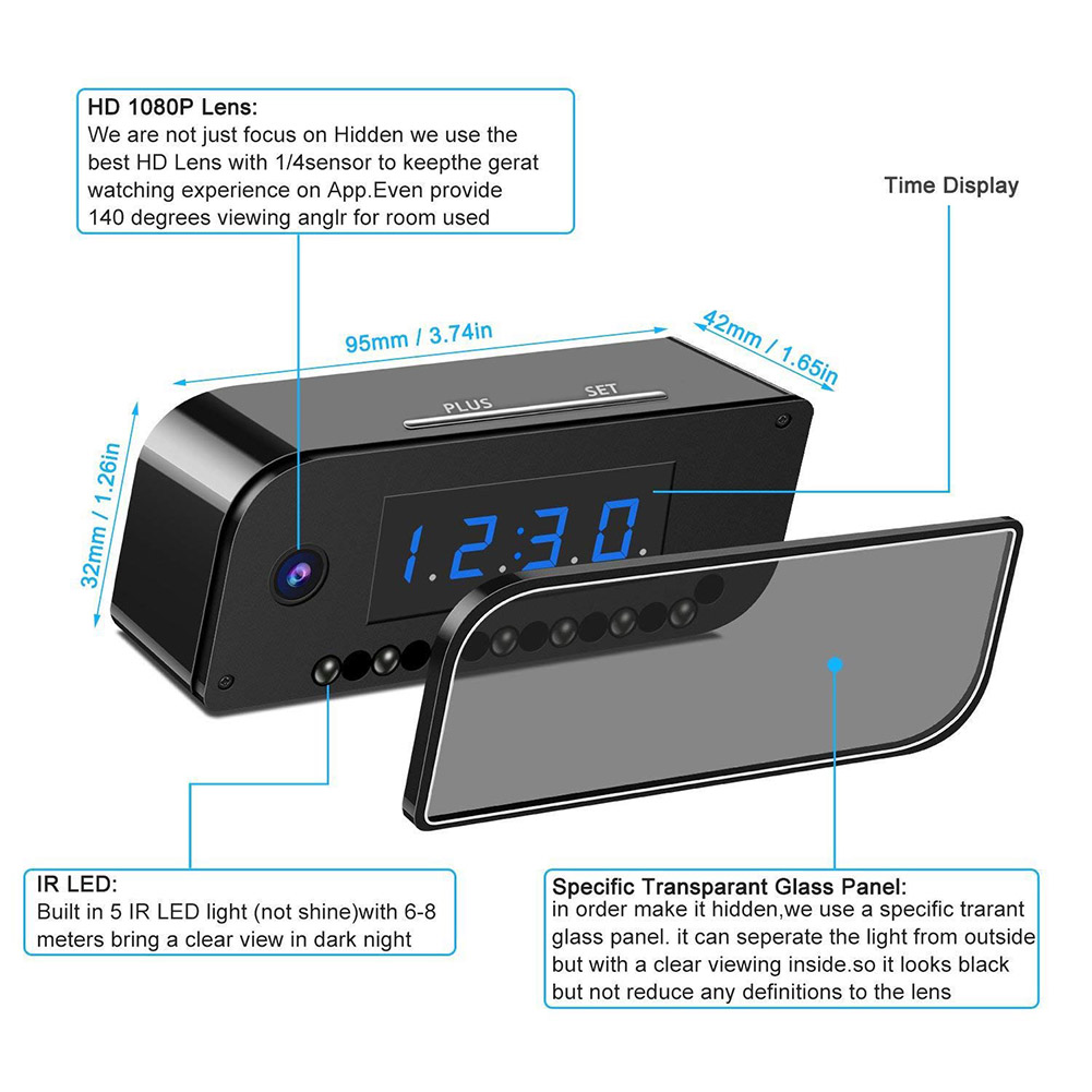 1080P Wireless Camera Alarm Clock Motion Detection Nanny DVR Night Vision for Home Security HVR88