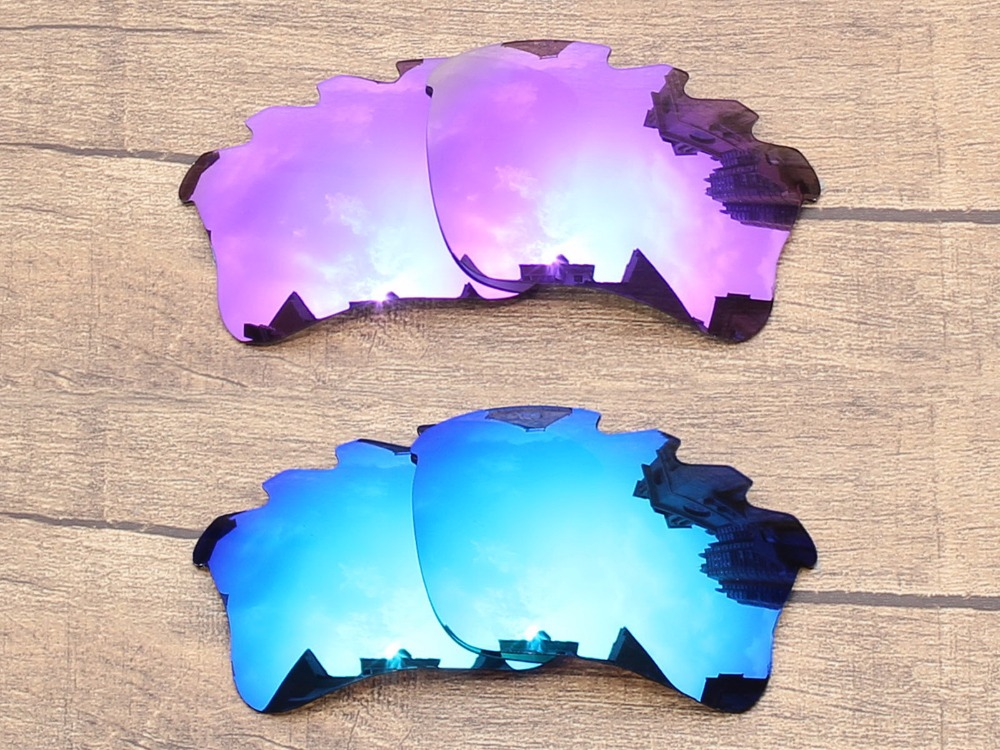 1d6dd9c810e Plasma Purple   Ice Blue 2 Pairs Mirror Polarized Replacement Lenses For  Flak Jacket XLJ Vented 100% UVA   UVB Protection