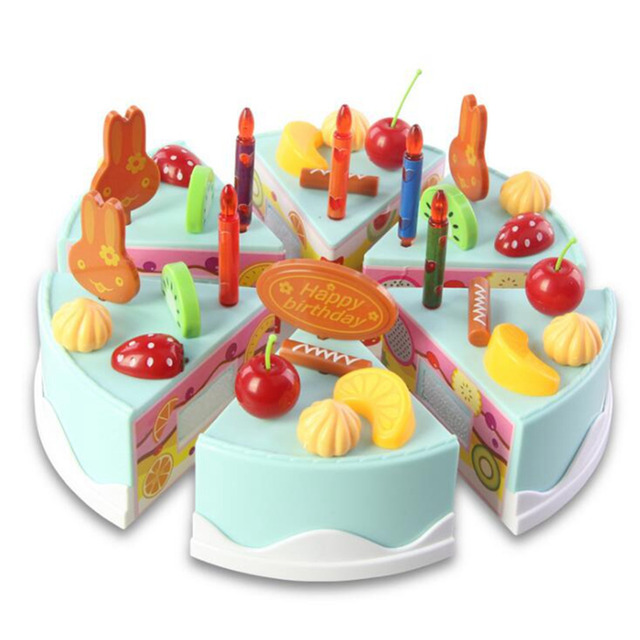 The latest models 37pcs DIY Cutting Birthday Cake Pretend PlayEarly Educational Classic Toy Kitchen Food Plastic Toy