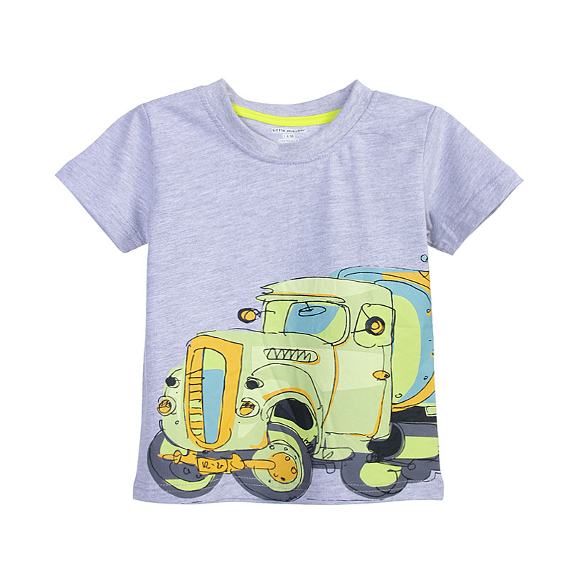 US Toddler Kids Baby Boys Short Sleeve Tops T-shirt Outfits Clothes Big Trucks