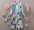 M L XL XXL spring/autumn new women print jackets lady's OL style geometric printing coat blazer B9003