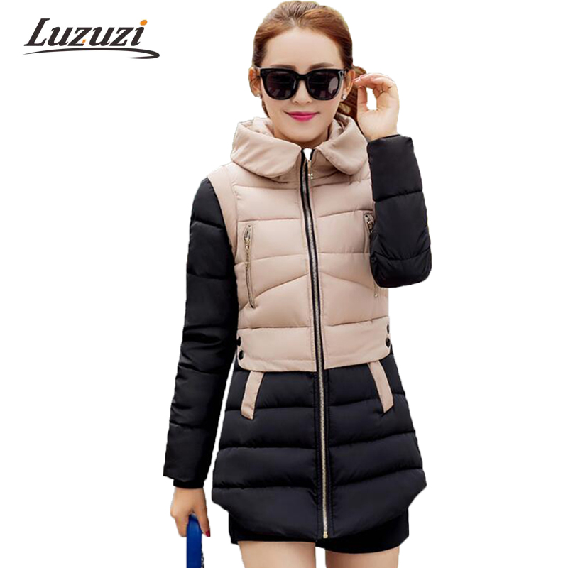 Women Winter   Parkas   Long Hooded Female Patchwork Winter Coats 2017 Cotton Padded Jackets Wadded jaqueta feminina invierno W1497