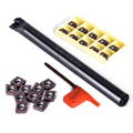 10pcs CCMT09T3 Carbide Inserts + 1pc S16Q-SCLCR09 Boring Bar CNC Lathe Turning Tool Holder + 1pc Wrench