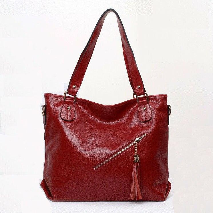 2016 new genuine leather women handbag fashionable tassel women leather handbag hot sale shoulder bag solid women messenger bag
