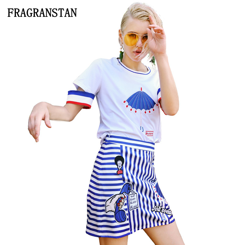 2018 Spring Summer Female New Cartoon Appliques Suits O-Neck Top+Zipper Fly Striped Skirts Casual Women Two Pieces Set JQ678