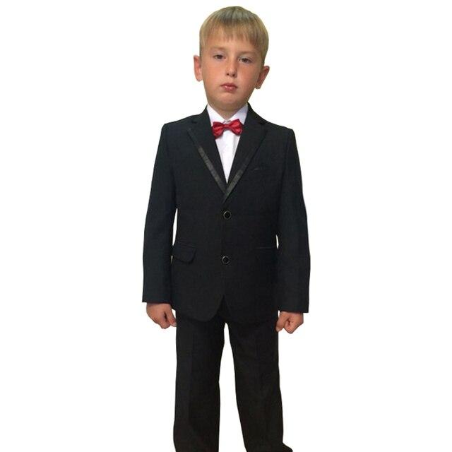 Kids Clothes Black Wedding Tuxedo For Children Formal Suits Blazer Vest And Pant 3PCS Ceremony Terno